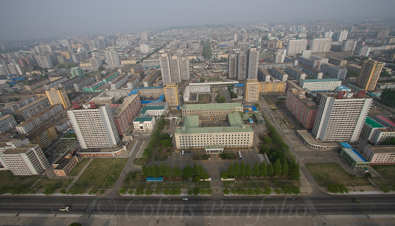 Looking towards the Tongdaewon District of Pyongyang.
