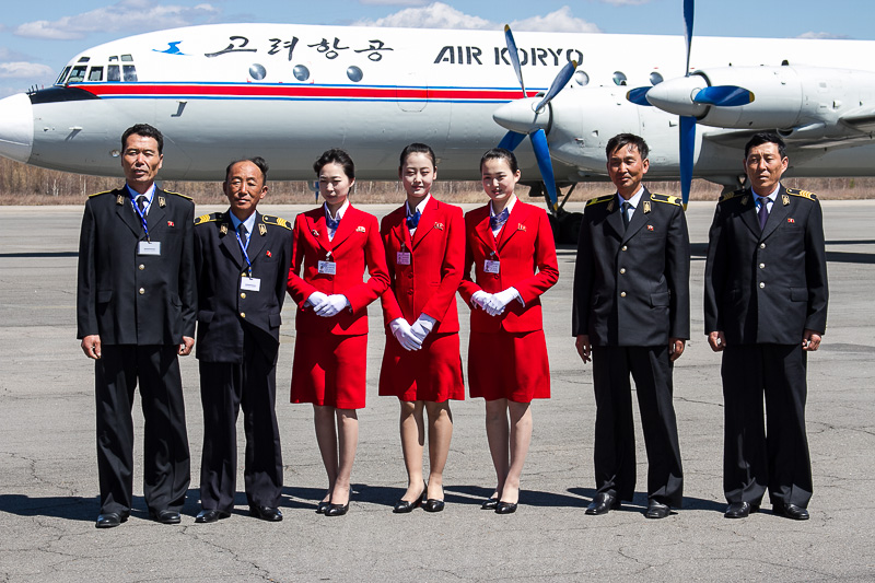 The Air Koryo flight crew and their Il-18 that brought us to the north of the country