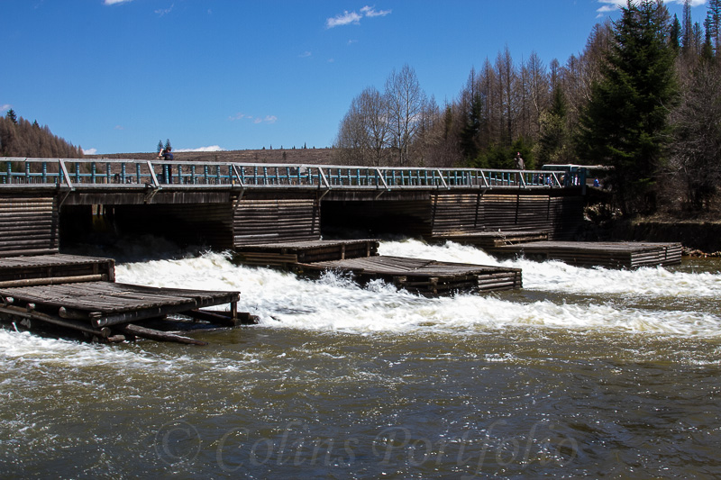 The sluice gates at the foot of the falls