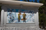 A mural depicting where Kim Jong Il was born.