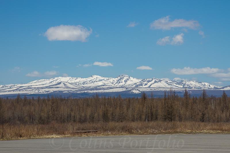 Snow covered Mount Paektu as seen from Samjiyon airport