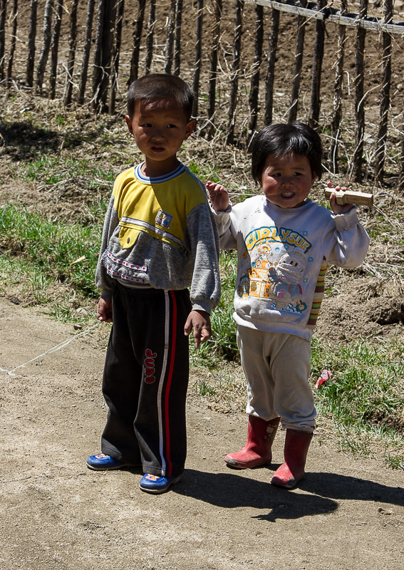 Two local children, fascinated by the camera
