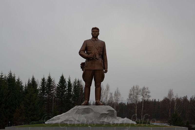 A 15m tall statue of the Great Leader in his youthful guerrilla days