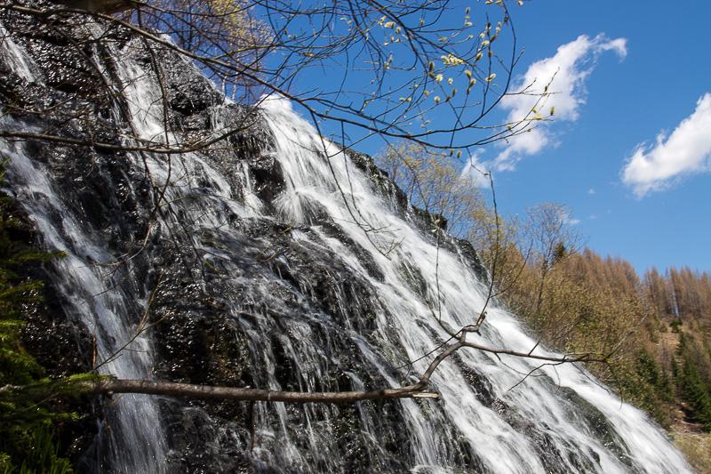 A close up of the falls