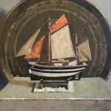 Still life with boat 30 cms sq £450 u/f