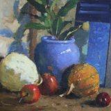 Blue Vase with Gourds (sold)