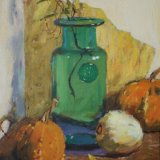"Still Life with Gourds 14""x10"" Oil on board £220 unframed"