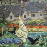 The Guiting Power Scarecrow Framed size 50cm x 65cm Oil on Canvas £650