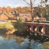 "Bridge over the Wey, Guildford 14""x18"" Oil on canvas £275 unframed"