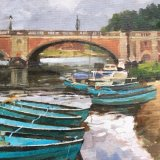 "The Thames at Hampton Court 14""x10"" Oil on board. £150 unframed"
