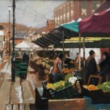 "Guildford Market 16""x12"" Oil on board. £320 framed."