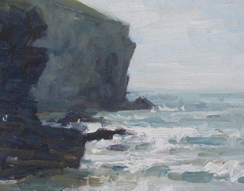 53. 'Rough sea, Trebarwith'   Oil   15x20cm