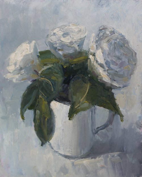 48. 'White Camelias in a jug'   Oil   20x25cm