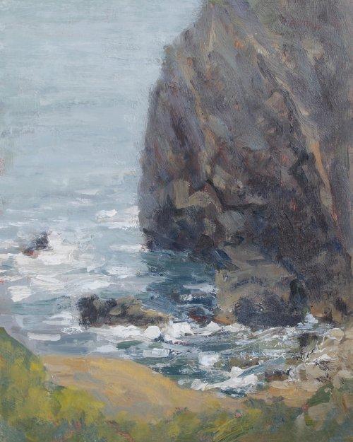 46. 'Sea and rocks, Lulworth'   Oil   20x25cm