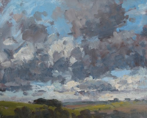 43. 'Clouds at Poundbury Hillfort'   Oil   20x25cm