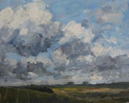 'Billowing clouds, Poundbury Hillfort' Oil 20x25cm