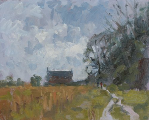 'Path to Poundbury Hillfort' Oil 20x25cm