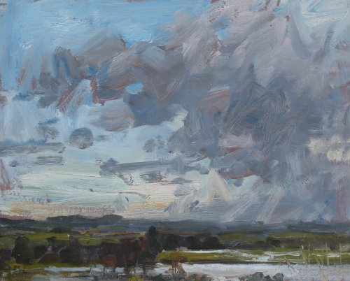 38. 'Flooded Meadows, Poundbury Hillfort'   Oil  20x25cm
