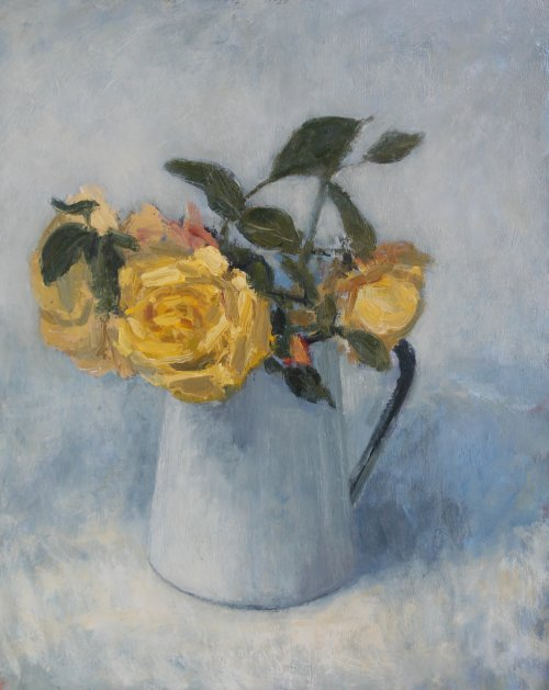 31. 'Yellow roses in a white jug'   Oil   30x37cm