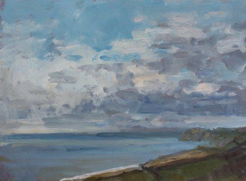21. 'View across Lyme Bay'   Oil   30x40cm