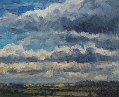 16. 'Cloudscape, Poundbury Hillfort'   Oil on paper   18x22cm