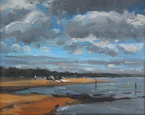 14. 'View towards Sandbanks Poole'    Oil on paper   18x22cm