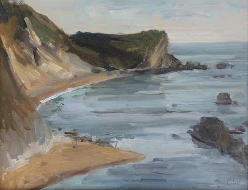 13. 'Man o War cove, Lulworth'   Oil on paper  18x22cm