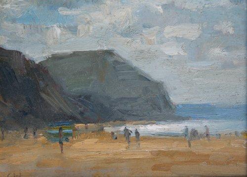 62. 'Light on sea, Golden Cap'   Oil   15x20cm