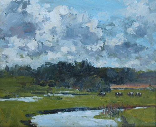 60. 'Cows grazing near Lulworth'   Oil   20x25cm