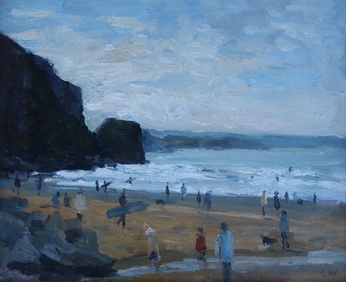 61. 'Surfers and Dog walkers, Watergate Bay'  Oil  20x25cm
