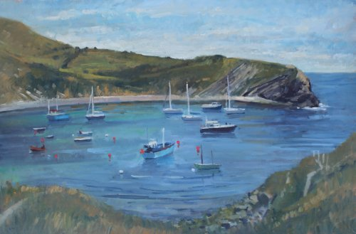 66. 'Boats at Lulworth Cove'  Oil  50x75cm