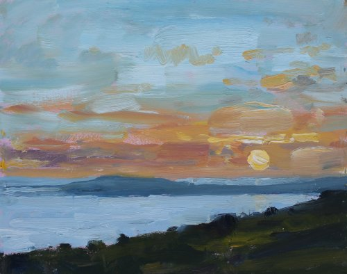 7. 'Sun Setting over Weymouth Bay'    Oil     20x25cm