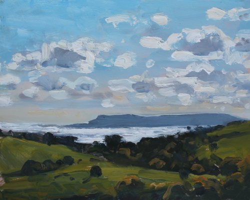 5. 'Portland and sunlight on the sea'  Oil  20x25cm