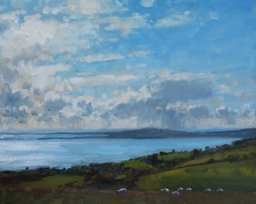 3. 'Sheep overlooking Weymouth Bay'   Oil   40x50cm