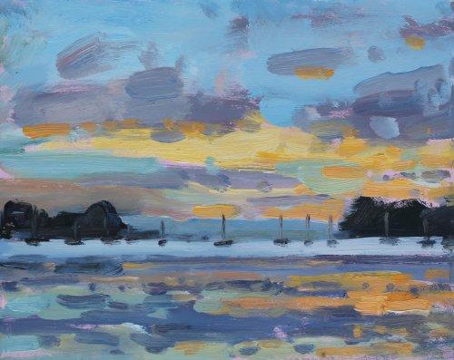 2. 'Evening light at Sandbanks, Poole' Oil 20x25cm
