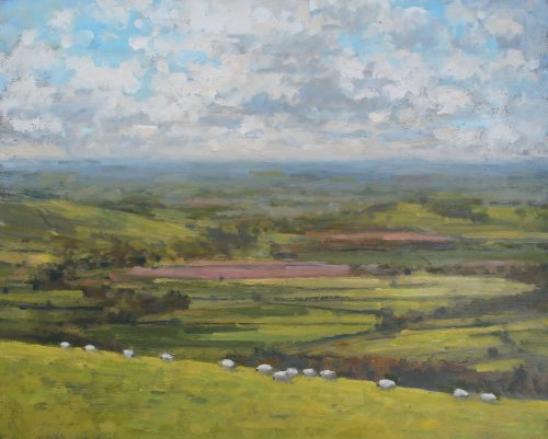 11. 'Sheep grazing at Eggardon Hillfort'   Oil   40x50cm