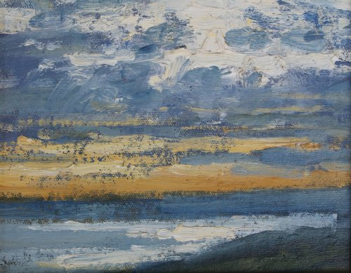 12. 'Evening light over Lyme Bay'  Oil  15x20cm