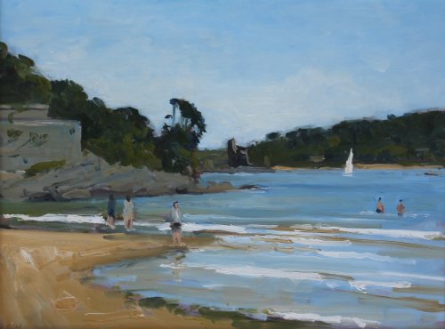 16. 'Sailing at South Sands Salcombe'   Oil  30x40cm