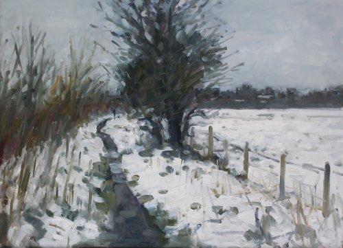 17. 'Path through the snow, Poundbury'  Oil  35x50cm