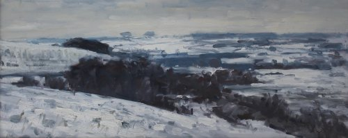 'Snow on Poundbury Hillfort' Oil 25x60cm