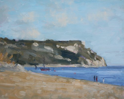 22. 'On the beach at Ringstead'   Oil   20x25cm