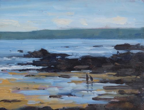 'Paddling at Hope Cove' Oil 15x20cm