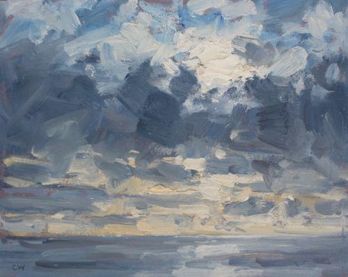 'Sun, clouds and sea' Oil 20x25cm