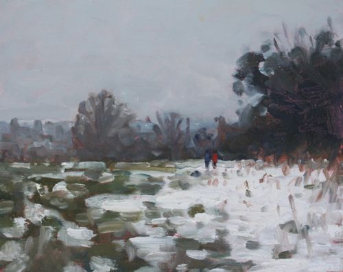 'Last of the snow' Oil 20x25cm