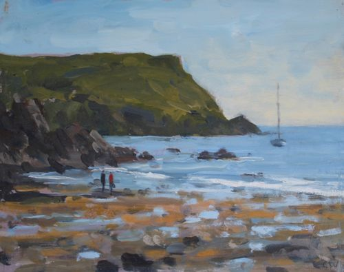 'Boat at Hope Cove' Oil 20x25cm SOLD