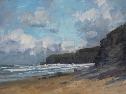 'Blustery day, Watergate bay' Oil 30x40cm