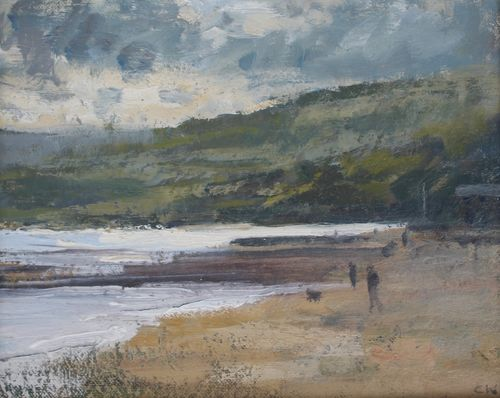 'Walking on Charmouth beach' Oil 20x25cm
