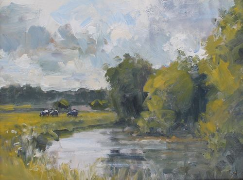 'Cows by the River Frome'  SOLD