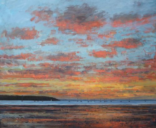 'Fiery sky, PooleHarbour' Oil 100x120cm SOLD