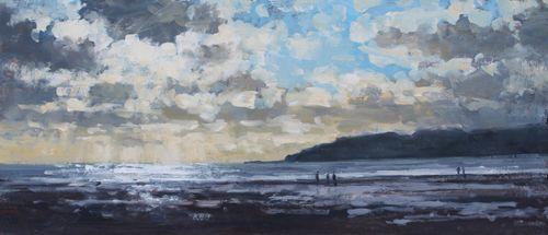 'Light on the sea, charmouth' Oil 22x50cm